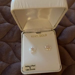 10 KT. gold Mother Pearl Cubic zirconia earrings